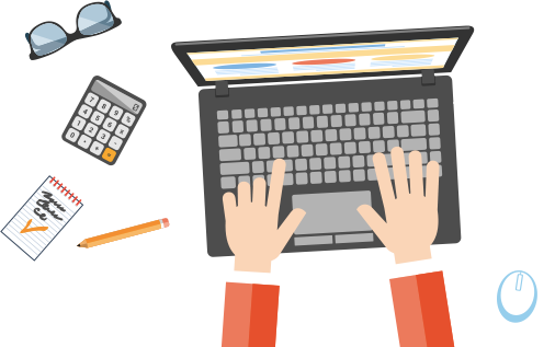 cartoon graphic of hands typing on a laptop