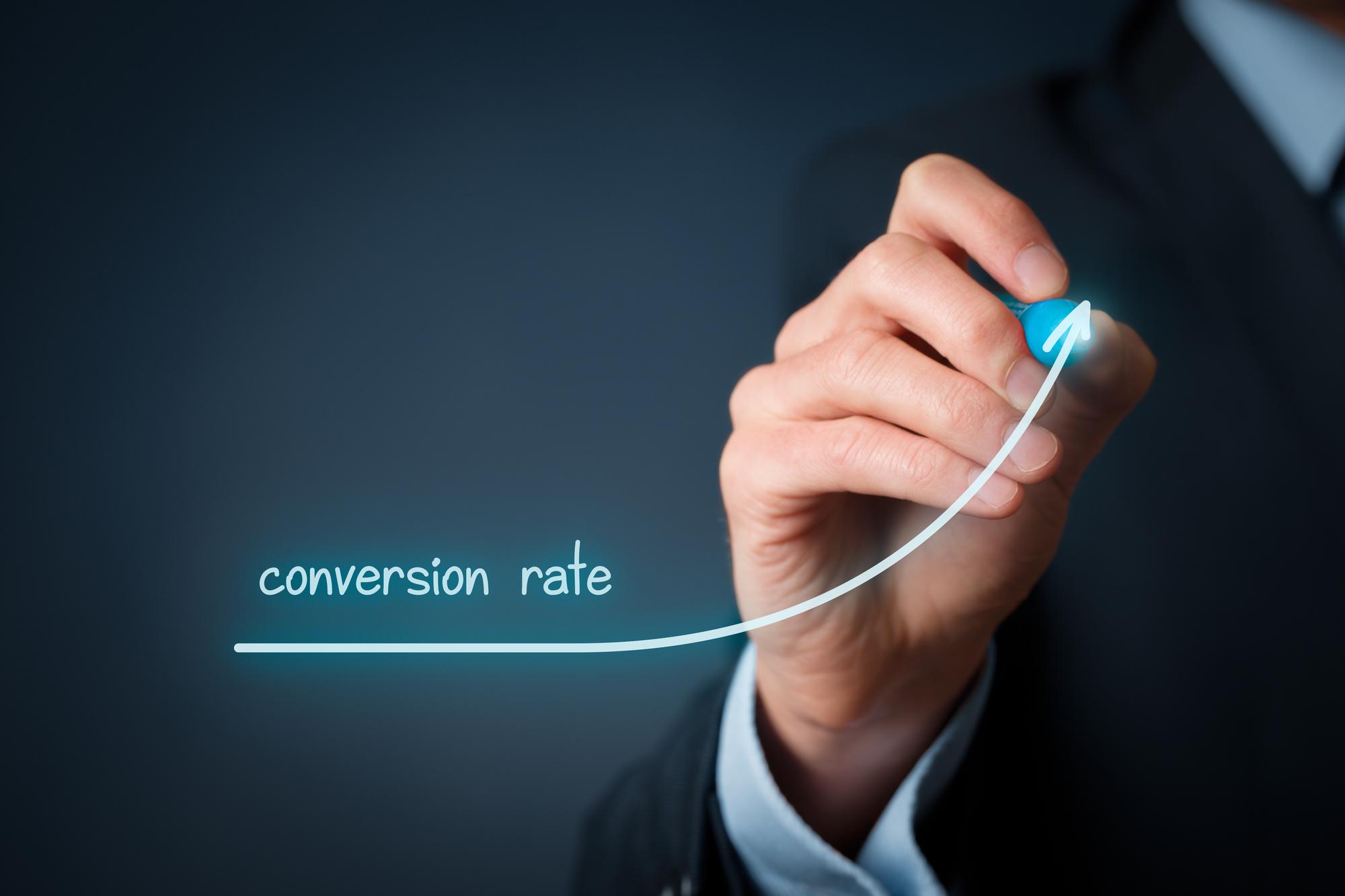 Conversion rate (internet marketing) concept. Businessman (marketer) draw growing graph of rise conversion rate.