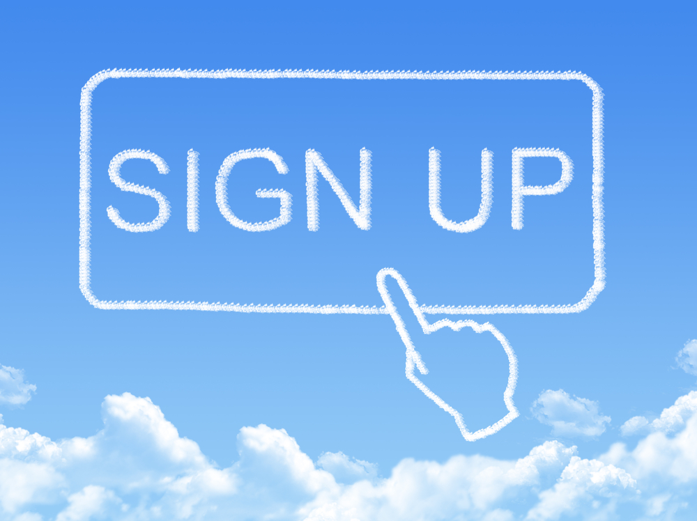 sign up message cloud shape